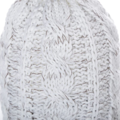 Détails of the Heidi Liebt Cable Beanie WoolWhite Taupe ,Made in Holland.